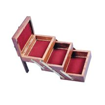 Crafts Paradise Beautifully Hand carved and Brass inlay work Sliding 3 in 1 Wooden Jewellery Box