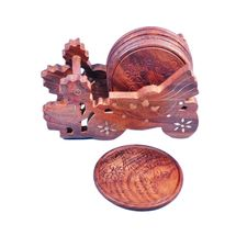 Wooden decorative Baggi design coaster set with Brass inlay work