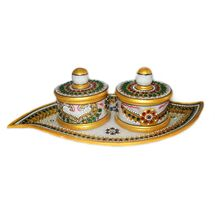 Marvellous Marble 2 Container Dry Fruit Decorative Tray, regular