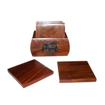Black Elephant design Inlay Work Wooden Wooden Coaster Set, regular