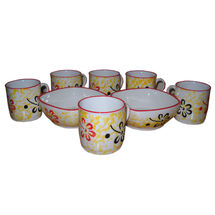 Beautiful Flower Design Cup and Snacks Set - Yellow and Orange Color, regular