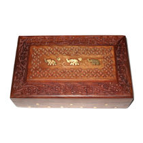Hand Carved and Brass Elephant design Inlay work Wooden Jewellery Box, regular