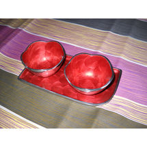 Snacks Serving 2 Bowl and tray Set - Red, regular