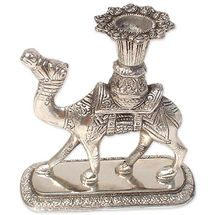 White Metal Standing Camel Statue Candle Stand, regular