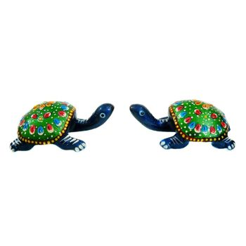 Rajasthani Meenawork Painting Tortoise Pair, regular