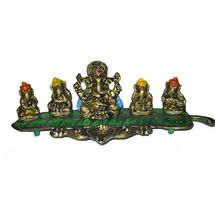 White Metal Colored Musical Ganesha on Banana Leaves, regular