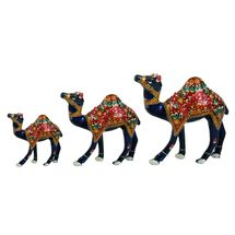 Rajasthani Meenawork Painted Camel Statues Set of 3, regular