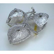 Glass and White Metal PAN Shape Dry Fruit Tray set with Metal cover Three Bowls, regular