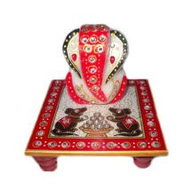 Marvellous Marble Ganesha Chowki with Mushak Raj design, regular