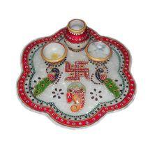 Mavellous Marble Flower shape Ganesha and Peacock design Pooja Thali with Diya and Mataki, regular