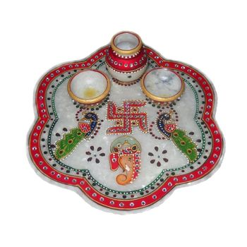 Mavellous Marble Flower shape Ganesha and Peacock design Pooja Thali with Diya and Mataki, regular