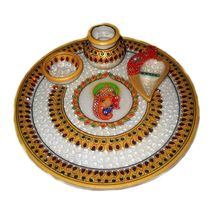 Mavellous Marble Gold finish necklesh design Pooja Thali with Diya, Chopra and Mataki, regular