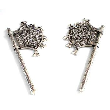 White Metal Decorative Pankhi Pair, regular