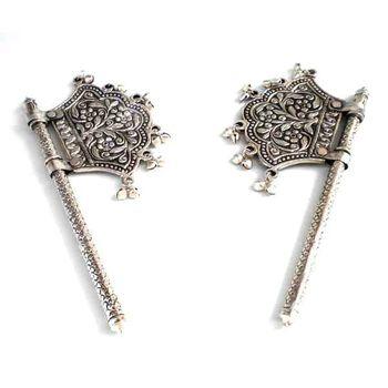 White Metal Decorative Pankhi Pair, regular