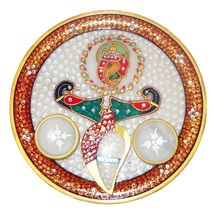 Mavellous Marble Simple and sober Ganesha designer Pooja Thali with Diya and Chopra, regular