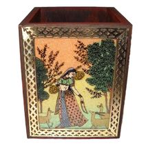 Handcrafted Gemstone and Wooden Square Pen Stand with Beautiful Painting, regular