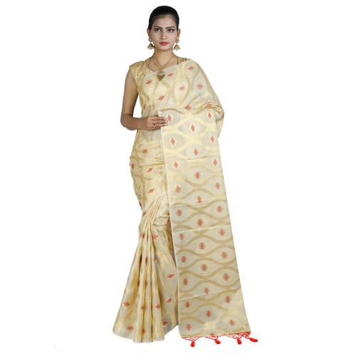 Pure Tissue Cotton Saree with Golden Zari Brocade Blouse 1