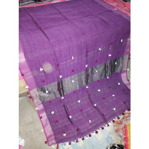 Pure Linen Saree with PomPom Pallu 1