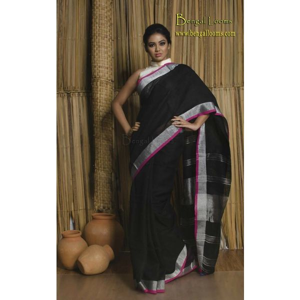 Pure Linen Saree with Contrast Border 11