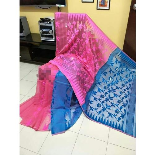 Bengal Handloom Jamdani Sarees with intricate designs Directly from Weaver 5.5 Metre WITHOUT Blouse Piece 14