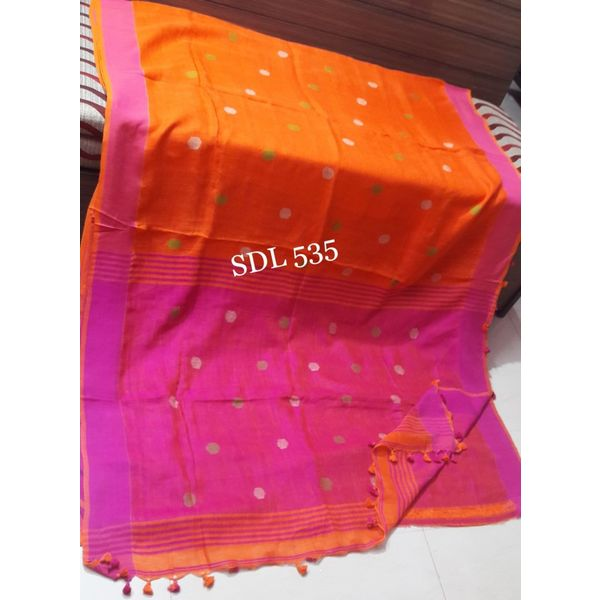 Linen By Linen Ball Butta Jamdani Saree 5.5 Metre with 80cm Blouse Piece 20