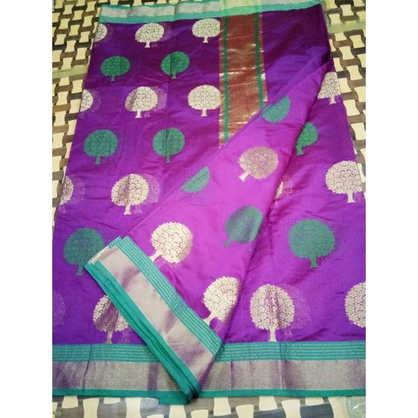 Banarsi Art Silk Tree Design Saree with Contrast Border 8