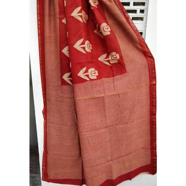 Hand Block Printed Cotton Chanderi Saree 31