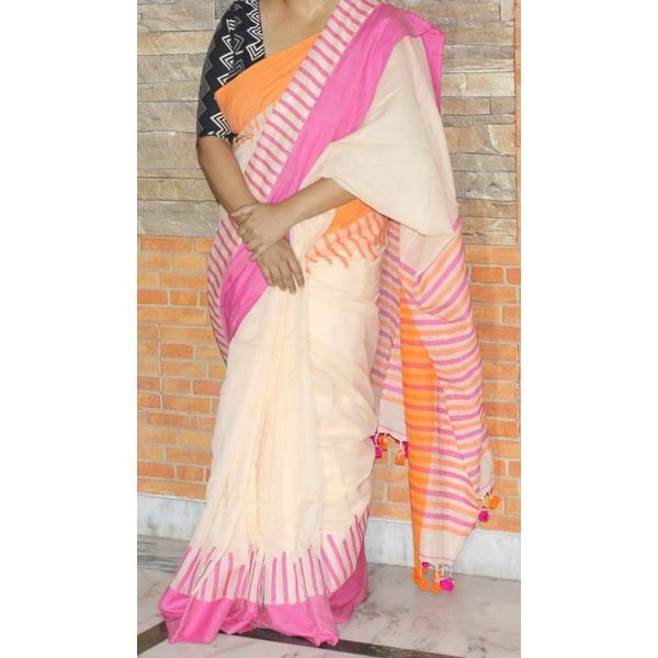 Pure Khadi Cotton Saree with Weaved Piano design border 1