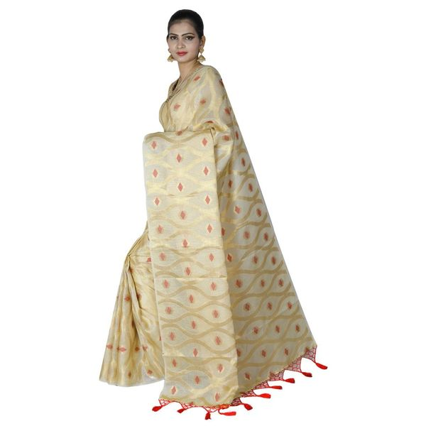 Pure Tissue Cotton Saree with Golden Zari Brocade Blouse 3