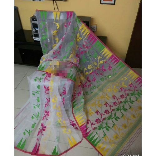 Bengal Handloom Jamdani Sarees with intricate designs Directly from Weaver 5.5 Metre WITHOUT Blouse Piece 15