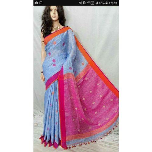 Linen By Linen Ball Butta Jamdani Saree 5.5 Metre with 80cm Blouse Piece 4