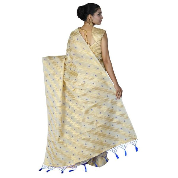 Pure Tissue Cotton Saree with Golden Zari Brocade Blouse 7