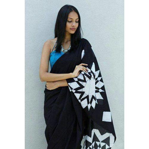 Cotton Mulmul Saree with Hand Batik/ Hand Block Print 6.3 metre length including Blouse Piece 1