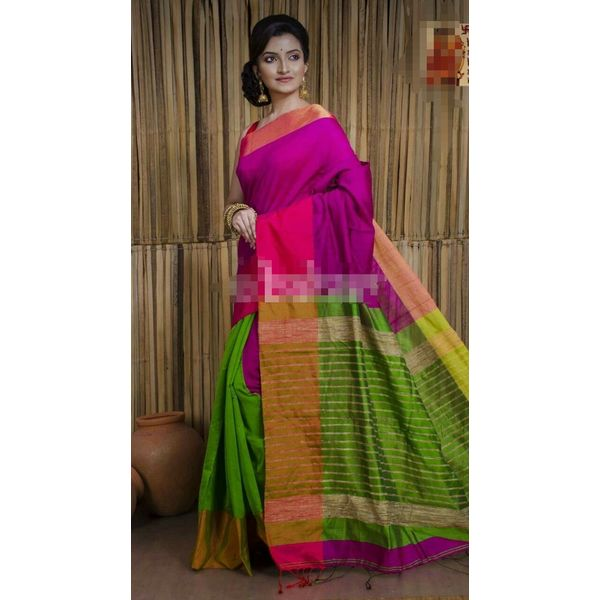 Mahapar Cotton Silk Saree 6.3 metre length with Blouse Piece 8