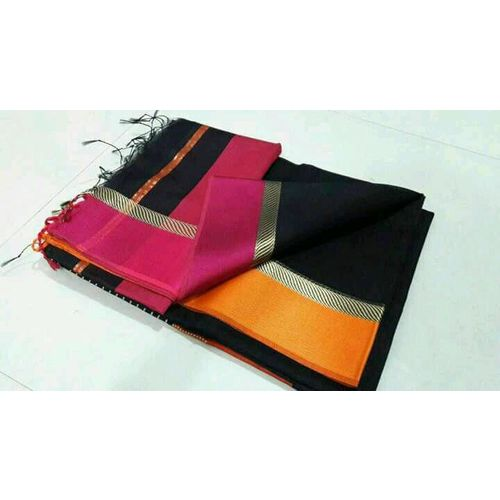 Pure Handloom Maheshwari Saree Directly from Weaver 5.5 Metre with 80cm CONTRAST Blouse Piece in running 1