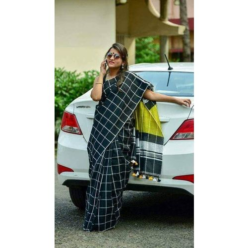 Pure Linen Saree with Contrast Border 1