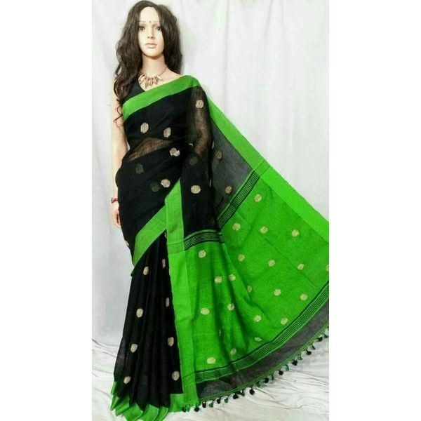 Linen By Linen Ball Butta Jamdani Saree 5.5 Metre with 80cm Blouse Piece 16