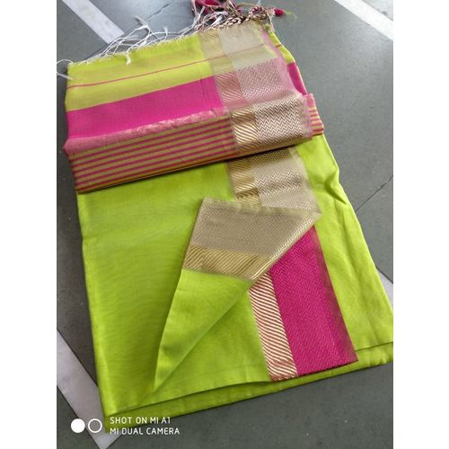 Pure Handloom Maheshwari Saree Directly from Weaver 5.5 Metre with 80cm CONTRAST Blouse Piece in running 4