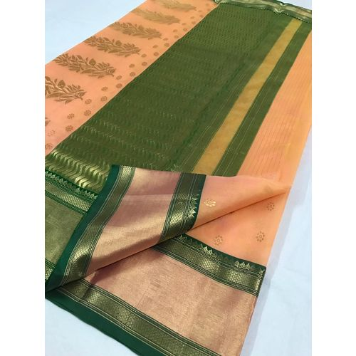 Pure Chanderi handloom kataan silk saree with intricate designs all over the border and pallu and butis all over Directly from Weaver 5.5 Metre with 80cm CONTRAST Blouse Piece in running 2