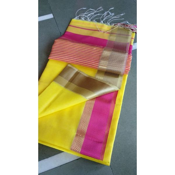 Pure Handloom Maheshwari Saree Directly from Weaver 5.5 Metre with 80cm CONTRAST Blouse Piece in running 3