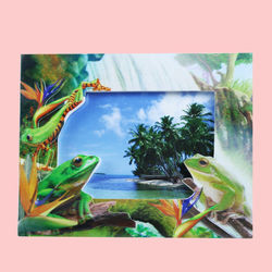 Creative Frog Design With Sand Effect Resin Photo Frame,  lawn green, 20   1.5   15.5 cm, ceramic