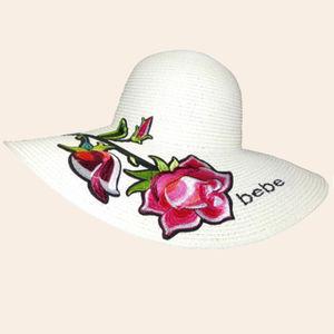 Designer Bebe Baby Rose Paper Hat For Women, jute paper, 38   38   17 cm,  off white