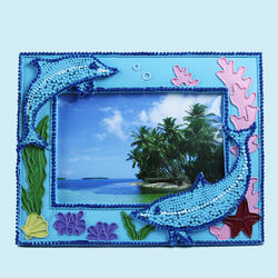 Creative Dolphin Design With Sand Effect Resin Photo Frame, ceramic, 22.5   1.8   17.5 cm,  blue