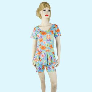 Women's Printed Swimsuit, 32, 80  nylon  20  elastane,  light blue