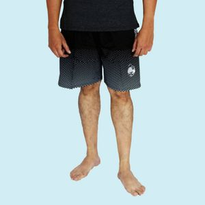 Black Dotted Printed Men's Swim Shorts, 90  polyester and 10  spandex,  black, xxxl