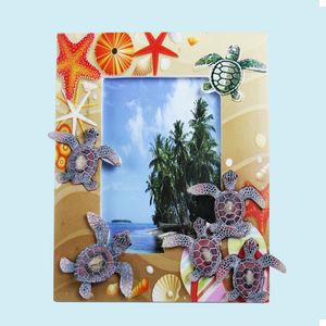 Creative Aqua Life Design With Sand Effect Resin Photo Frame., ceramic, 19.5   2.5   22 cm,  brown