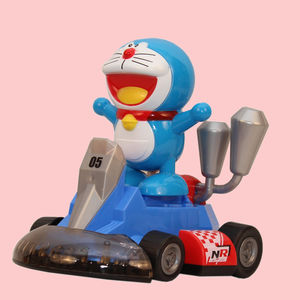 Kitty And Doremon High Powered Go Karting Toy For Kids With 4D Lights And Music,  blue, 12   18.5   22 cm, plastic
