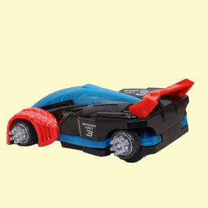 Spiderman Transformation Car Aircraft Plane, B/O Omni-Directional Car with 3D Light, plastic, 7.5   14   23.5 cm,  red