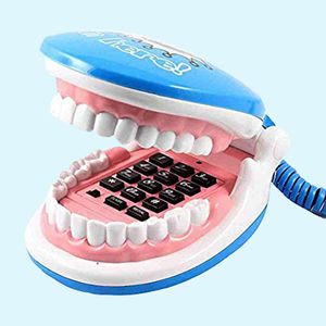 Foldable Teeth Shaped Telephone Handset, plastic, 35   25   18 cm,  blue