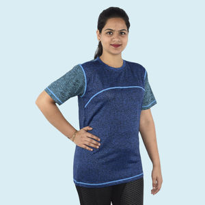 Unisex Sports Dry fit Round Neck T-Shirt, 90  polyester and 10  spandex,  blue, xl